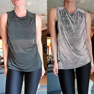 Reflective Lululemon Lab Workout Top Grey Silver Sporty Athleisure Size M